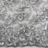Latest exclusive 3D beaded embroidery lace fabric/3D beaded bridal lace fabric/beaded dress lace fabric
