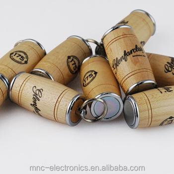 Beer brewing company promotion gift customized laser engraving logo 8GB wood wine barrel shape keyring usb