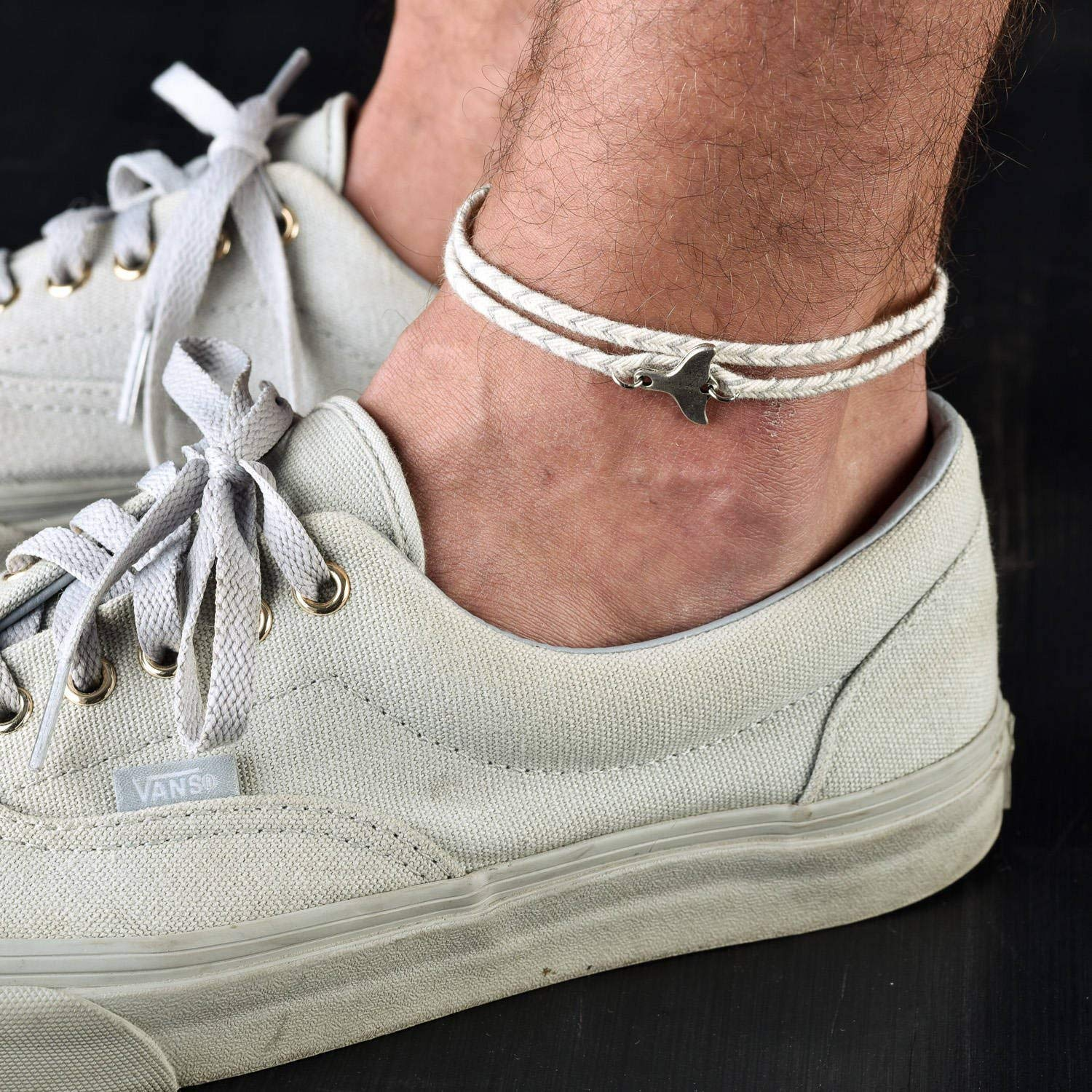 Handmade Gray Anklet For Men Set With Silver Plated Whale Tail Pendant By Galis Jewelry - Ankle Bracelet For Men - Whale Tail Anklet For Men