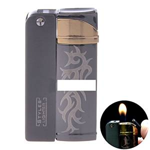 Black Carving Shaped Butane Gas Refillable Cigar Cigarette Lighter Flame Fire