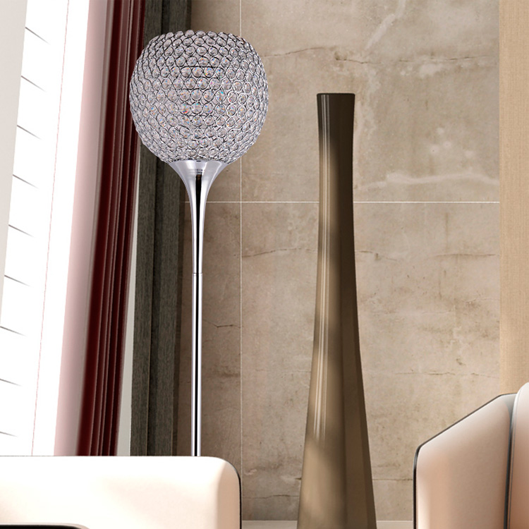 Alibaba gold supplier popular luxury indoor decoration crystal floor lamp