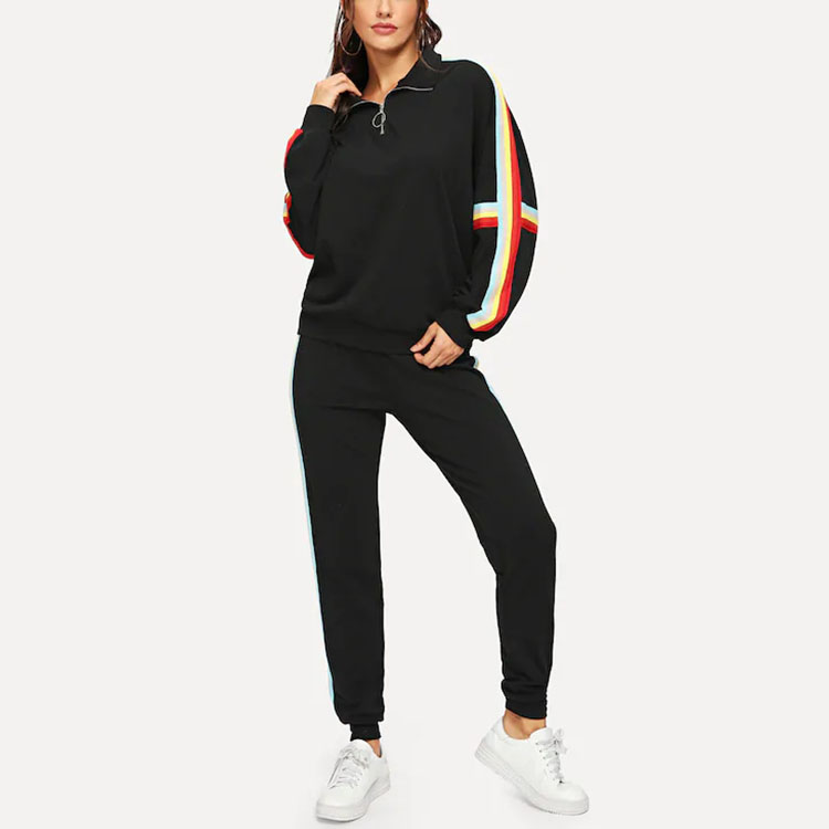 New Fashion Side Stripes Casual 2 piece Women Tracksuit Set