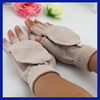 Winter Knitted Thermal Fingerless Mitten Cap Gloves with Flip Top