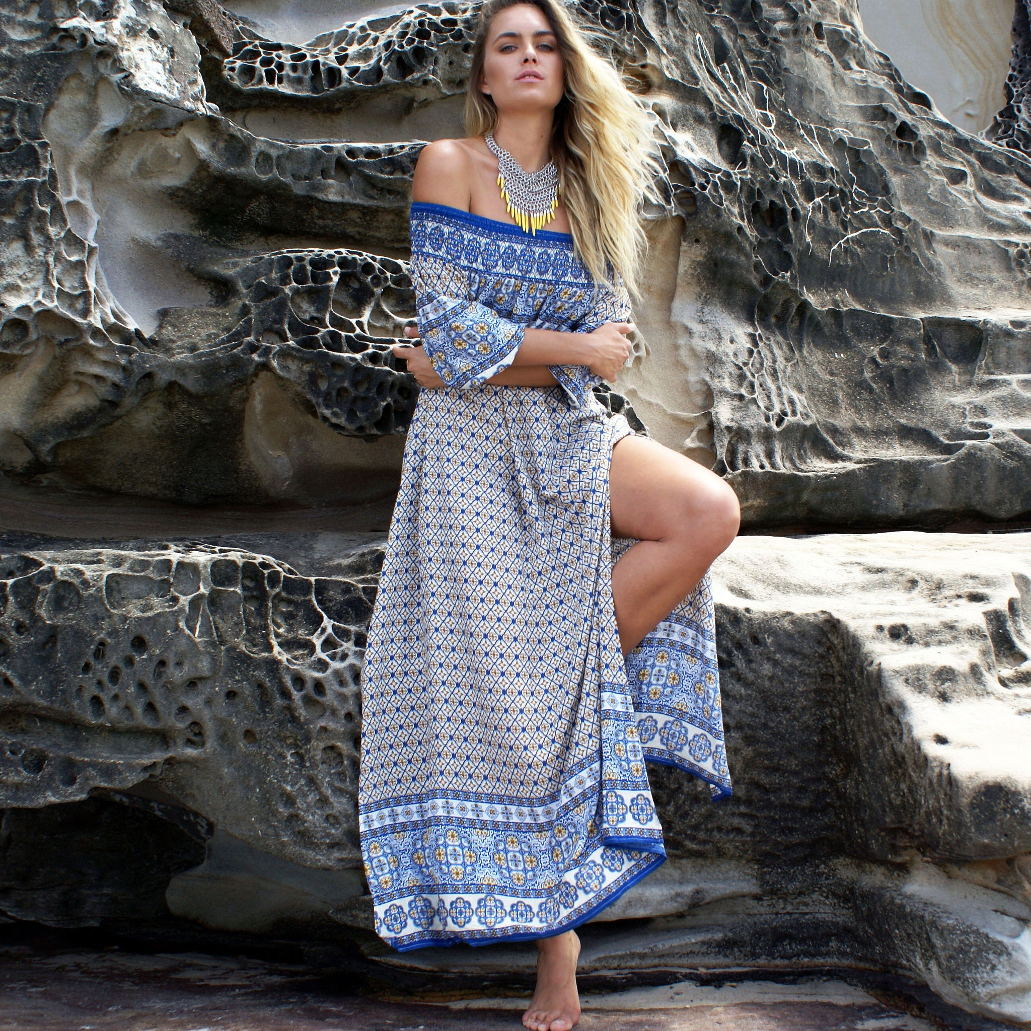 Online <strong>Shop</strong> Both Side Split Mid Sleeve Printing Casual Maxi Lady <strong>Dress</strong>