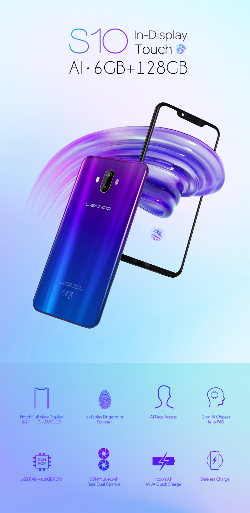 "Global Version LEAGOO S10 P60 6GB 128GB 6.21"" 19:9 U-Notch Mobile Phone 20.0MP 4050mAh 9V/2A In-Screen Fingerprint Android 8.1"