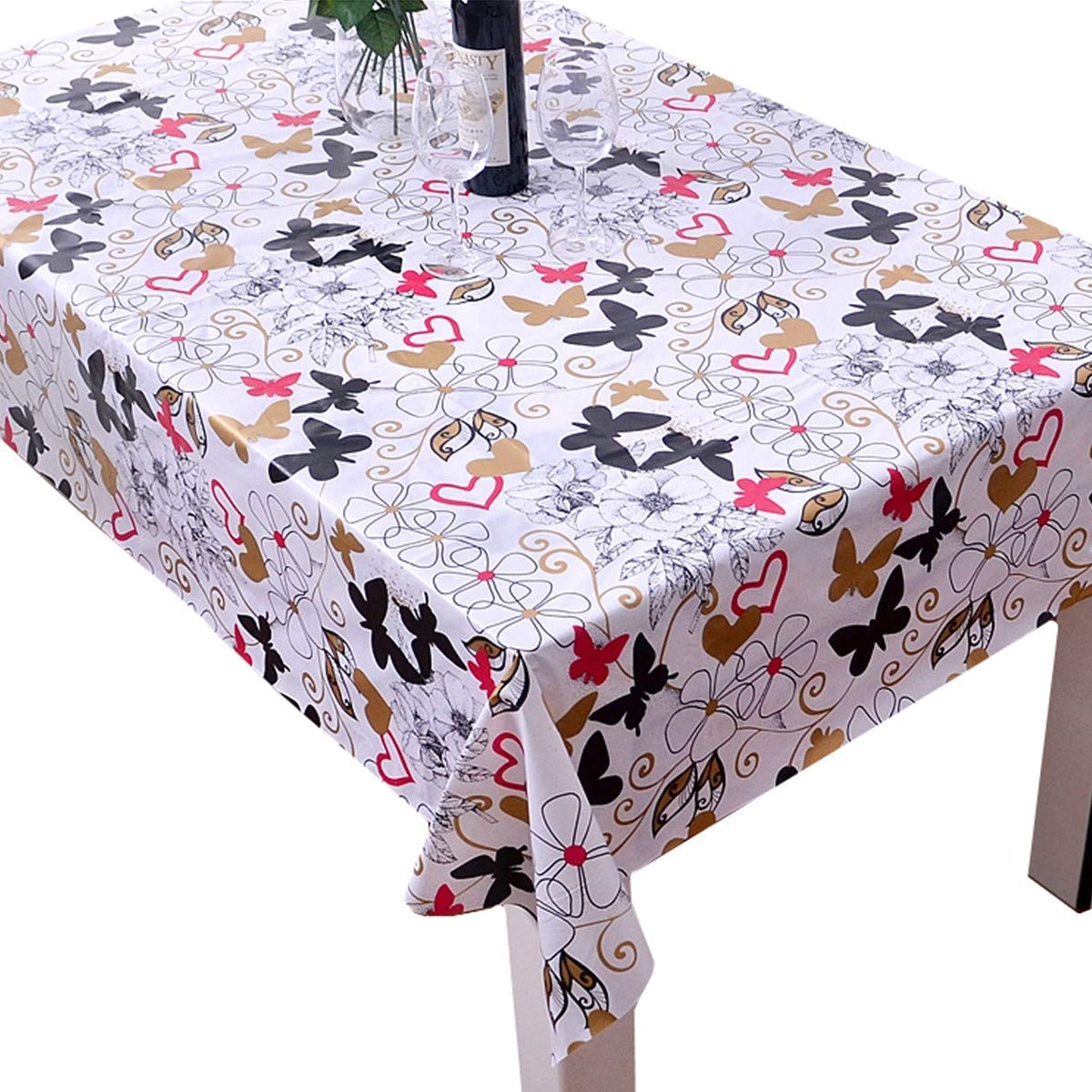 Bettery Home Vinyl Tablecloth Rectangle Wipe Clean Table Cover Waterproof Stain Resistant Oil Proof Non-Slip for Outdoor/Indoor/Kitchen use (54 x 82 inch, Red Butterfly)
