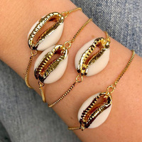 Buy 10 Get 1 Free, European Style Hot Sale Single Sea Shell Bracelet Gold Plated Real Seashell Adjustable Size Bracelet For Girl