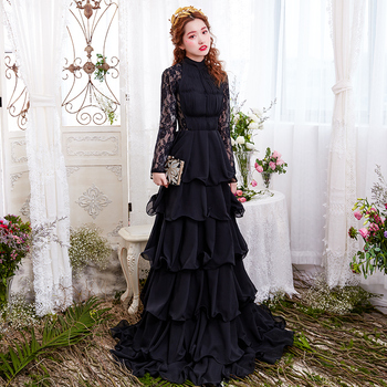 Sexy Cake Long Black Dress Prom Lace Transparent Long Sleeve Floor