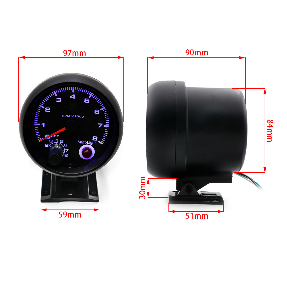 "Cnspeed 3.75 "" Universal electronic 80mm blue led tachometer rpm gauge 0-8000 rpm"