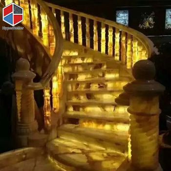 Hotel light marble stair case