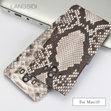 LANGSIDI phone shell For Huawei Mate 10 mobile phone case advanced custom natural python skin Leather Case For Huawei Models