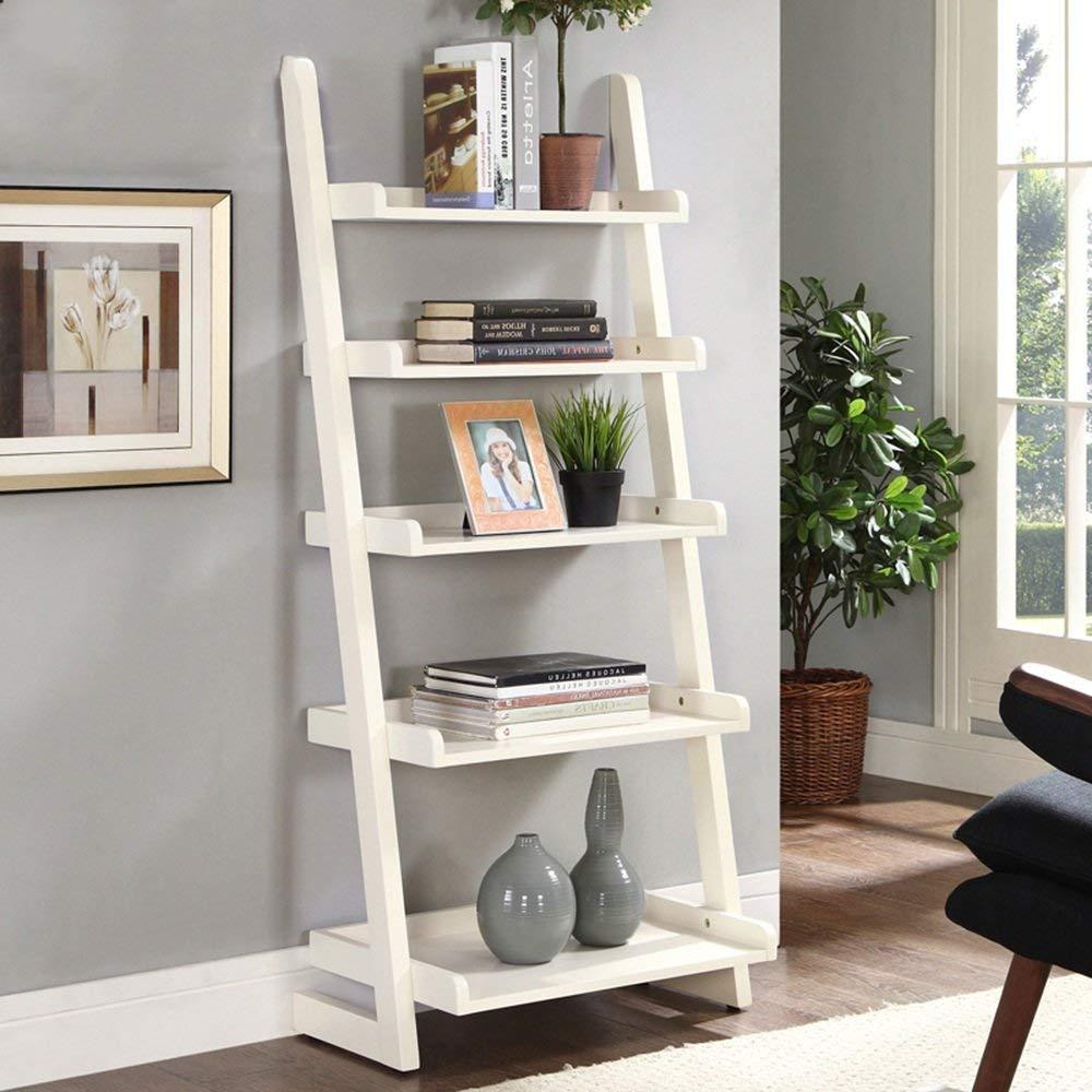 Shelves MEIDUO Bookshelf Ladder Bookcase 5-Tire Wood Leaning Shelf for Home Office Modern Flower Book Display Shelf Storage Rack Stable A-Frame Wooden Ladder Shelf (Color : Milky white)