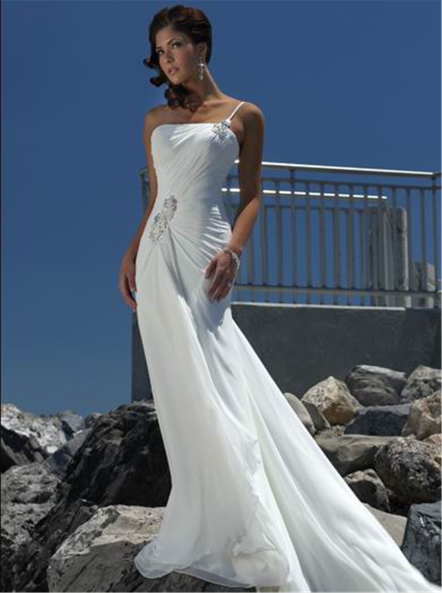 Sexy Beach Wedding Dresses 2015 Strapless Chiffon Ivory