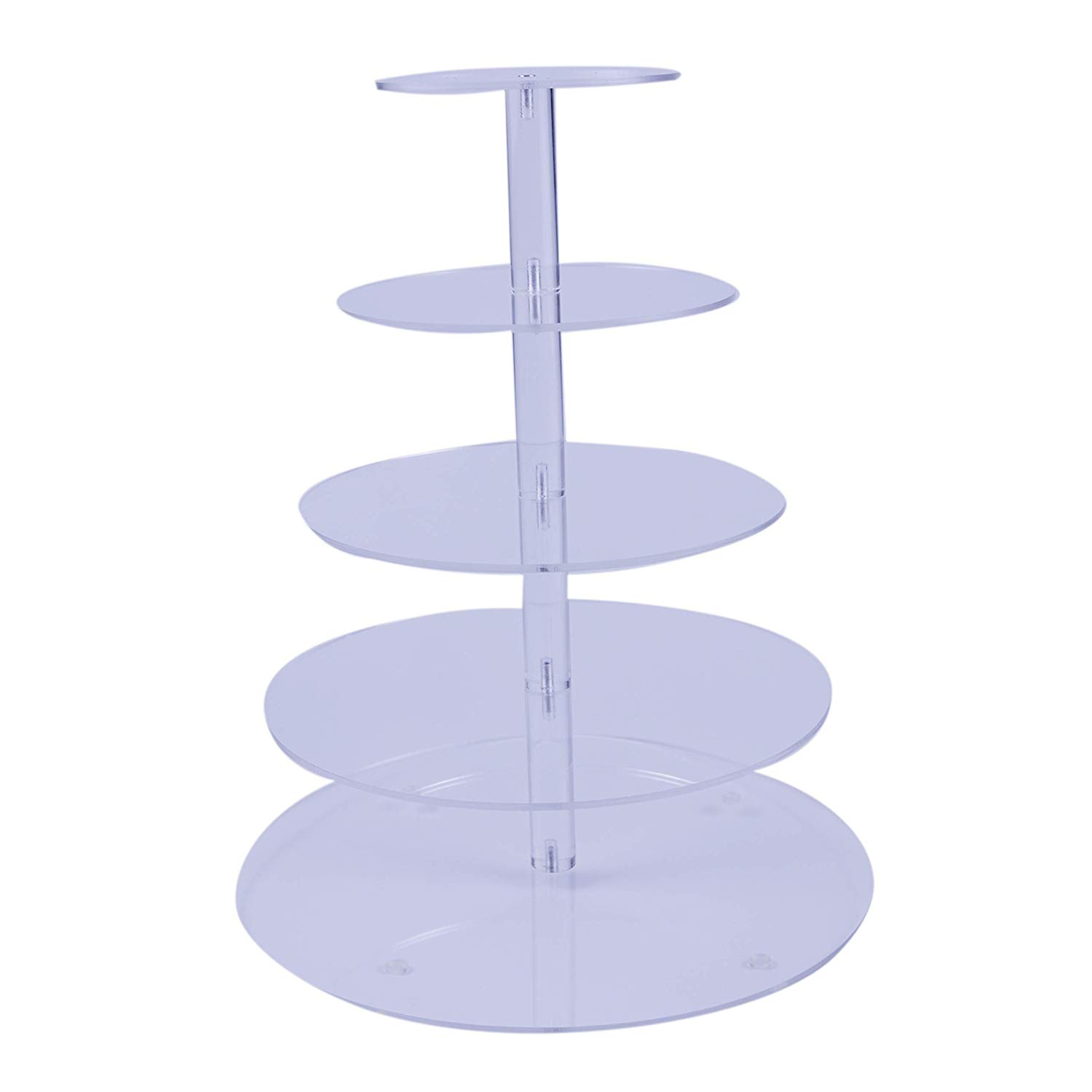 """5-Tier round Cupcake Stand - Acrylic Tiered Cake Stand - Dessert or Cupcake Tower ((5 tier round (3.9"""" Layer spacing))"""