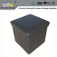 Promotion quality hot sale pink pu storage ottoman