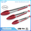 Silicone Kitchen Cooking Salad Serving BBQ Tongs Stainless Steel Handle Utensil kitchen tools Silicone Kitchen Tongs