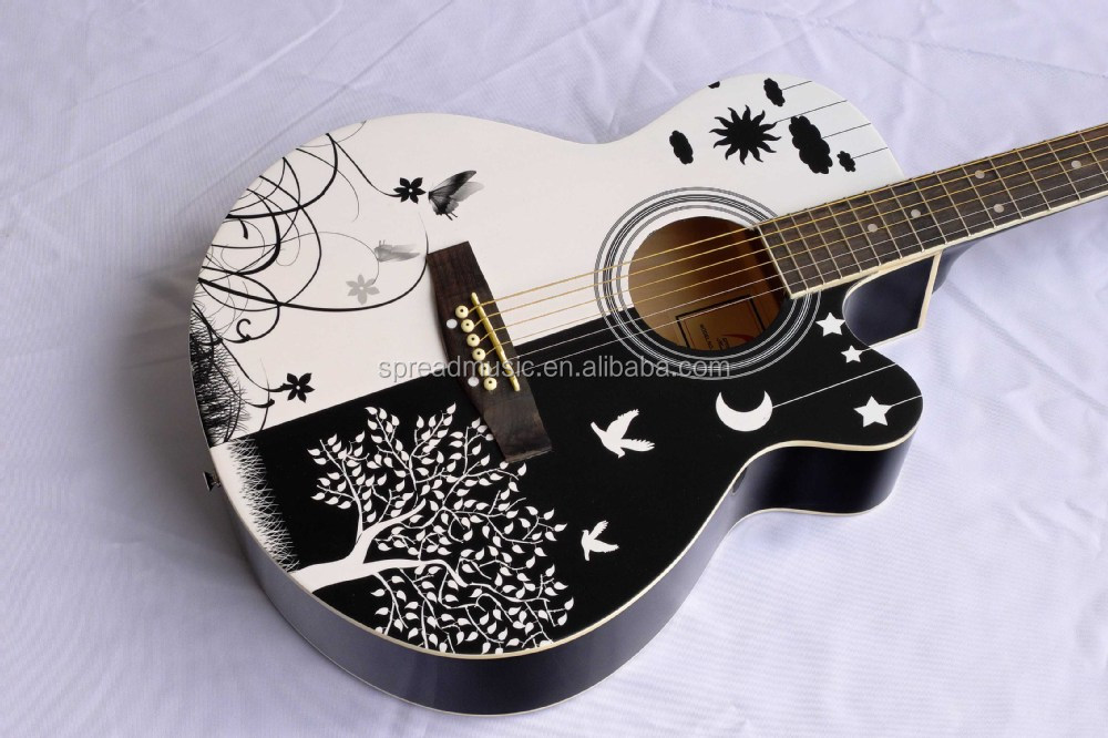 Special Design Top Pattern Acoustic Guitar W 01CP6 BK