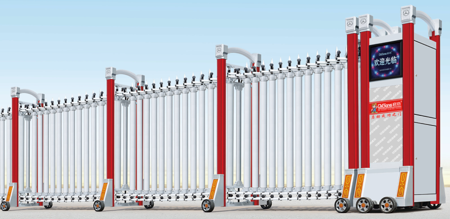 Auto Aluminum Alloy Accordion Open Style Modern Electric Segmented Sliding Gate Type QG-L1709