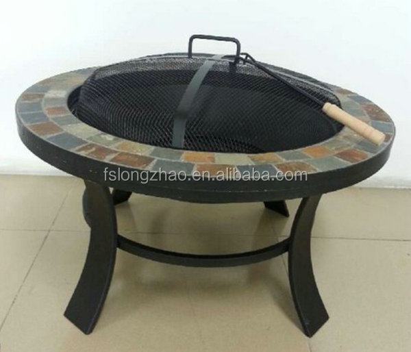 "30"" Steel Outdoor Round Pop-up Fire Pit BBQ Grill for Garden"