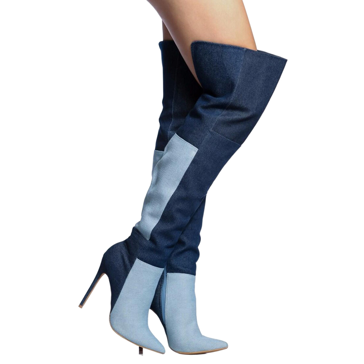 New arrival blue denim patchwork pointed toe thigh high boots