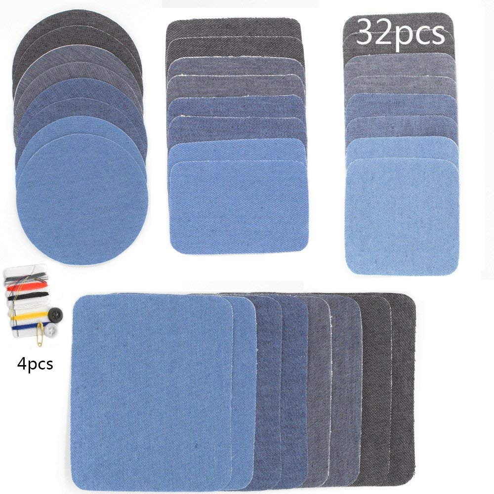Hantier 36pieces Denim Iron On Patches Set, 32pcs No-Sew Shades of Blue Black Assorted Denim Repairs Patches for Knee/Jeans/Clothing & 4pcs Mini Sewing Kit