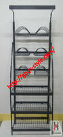 Customized supermarket promotion dish display stand/grocery store wire mesh kitchen ware display shelf