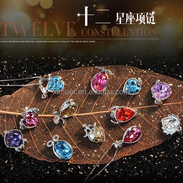 Fine fashion 12 constellations austrian crystal pendant necklace