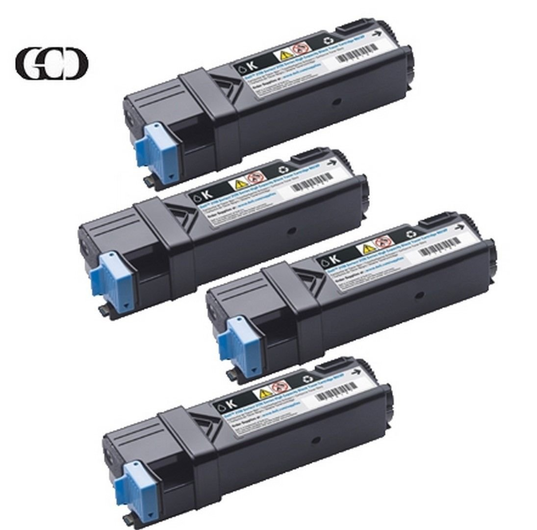 4X Quality BLACK Toners for DELL Color Laser 2150, 2150CN, 2155, 2155CN,