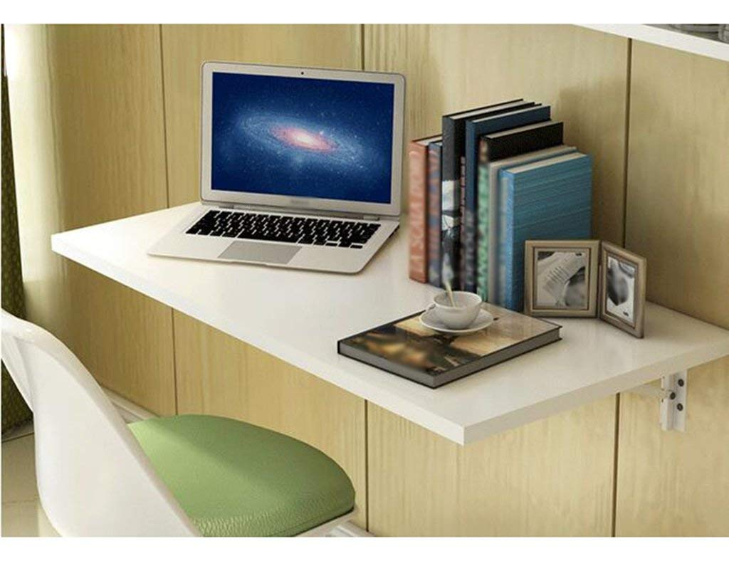 Mmdp Foldable Dining Table Office Table Computer Desk Wall-mounted Laptop Desk 6040cm Learning Table Color Optional (Color : White)