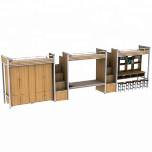 Apartment eight adult double decker bed design wooden double decker bed