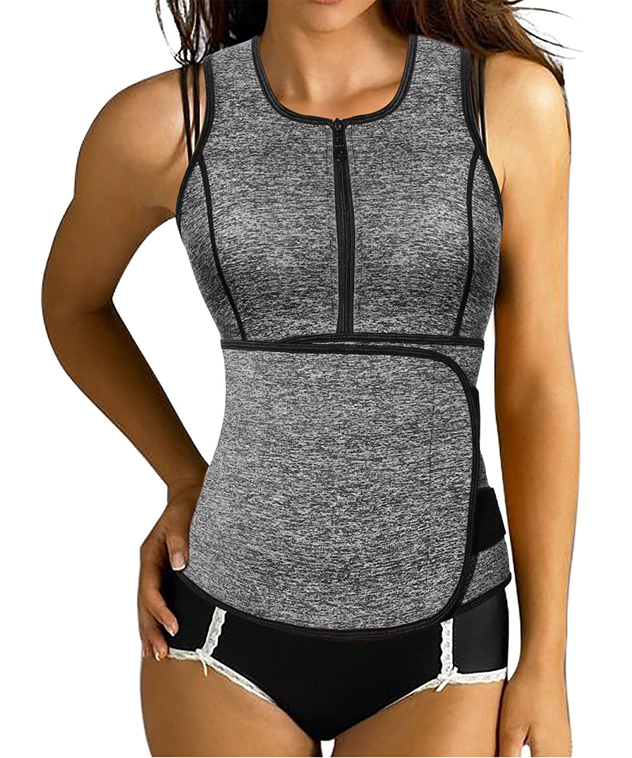 131c2812b44 Get Quotations · Ursexyly Girdle Vest Zipper Combination Trainer Body Shaper  for Excercise Sweating Slimming