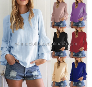 blouse new designs Spring Summer Women Ruffles Long Sleeve Chiffon Shirt Solid Color Casual Loose Fashion Tops Blouse