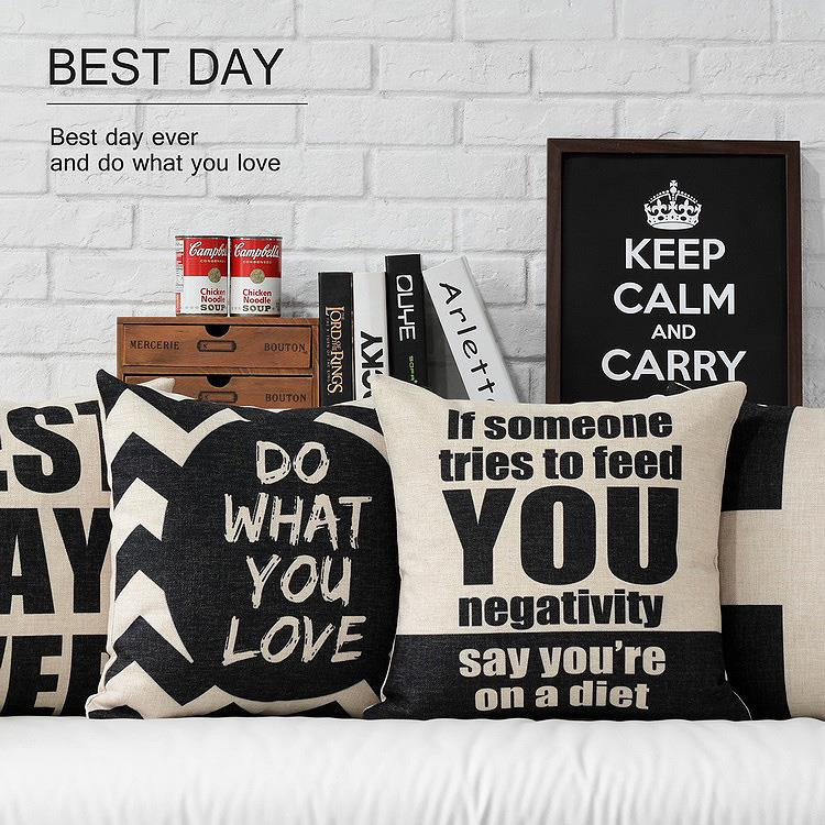 Free Shipping Nodic Black Best Day Linen Fabric Throw Pillow Hot Sale New Home Fashion Christmas Decor 45cm Bar Sofa Car Cushion