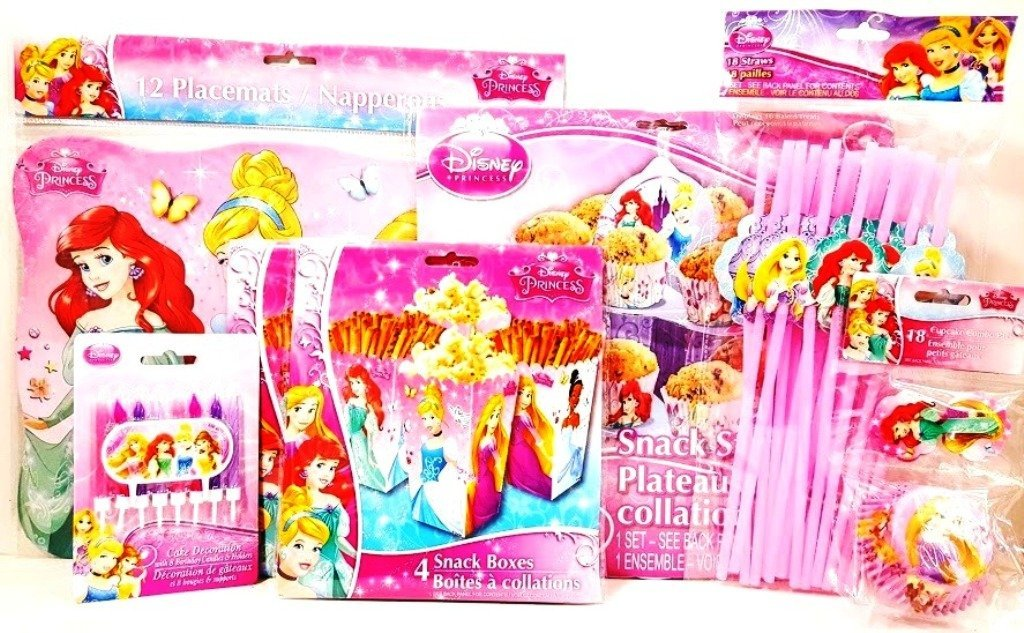Disney Princess 5 Item Birthday Party Bundle - Includes Placemats, Snack Boxes, Cupcake Stand, Cupcake Combo Pack, Straws