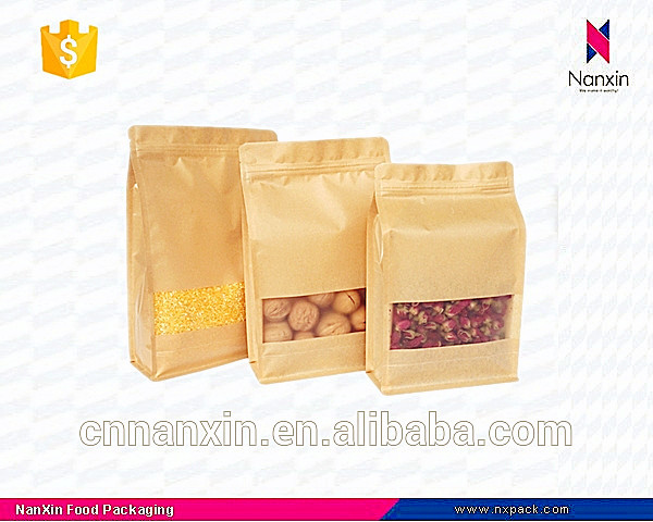 flat bottom brown kraft paper bag with zipper for whole grains