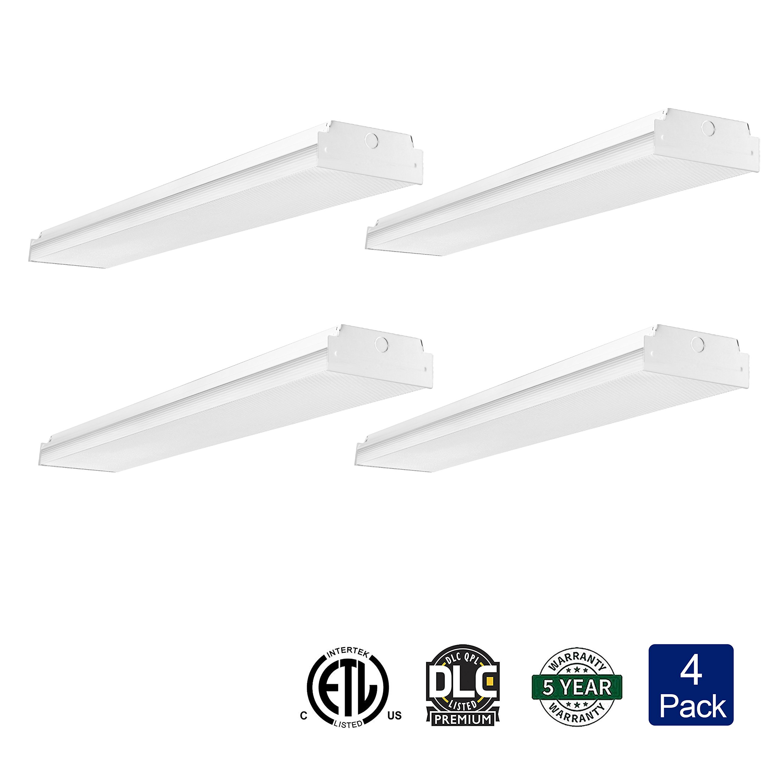 AntLux 4ft LED Garage Shop Lights LED Wraparound Light Fixture - 50W 5500LM - 4000K Neutral White - Integrated Low Profile Linear Flush Mount Ceiling Lighting - 120W Fluorescent Replacement - 4 Pack