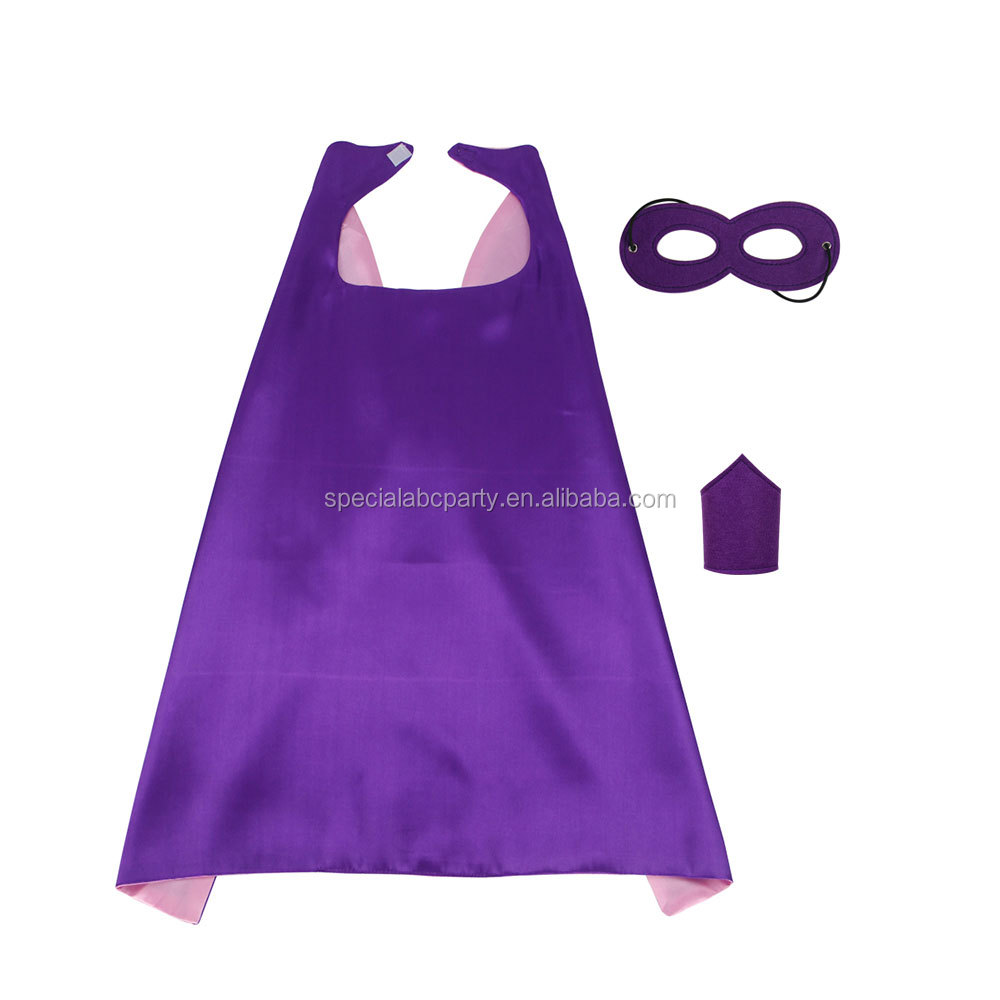 <strong>Kids</strong> Purple <strong>Superhero</strong> <strong>Capes</strong> And Mask&amp;Handguard DIY Pretend Play Costumes Halloween Cosplay Party <strong>Capes</strong>