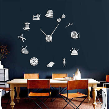 Tailor Shop Decorative DIY Large Wall Clock For Living Room Vintage Sewing Machine Tools Mirror Giant Clock Wall Sticker