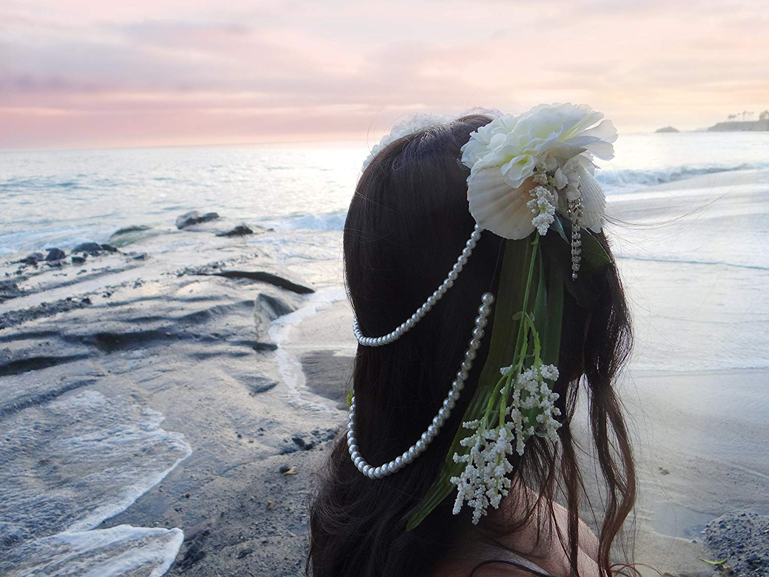 Swimmable Wedding Day Shell Headdress by Star Stuff Boutique, White Mermaid Crown, Authentic White mermaid headband, Mermaid Crown, seashell tiara, handmade summer