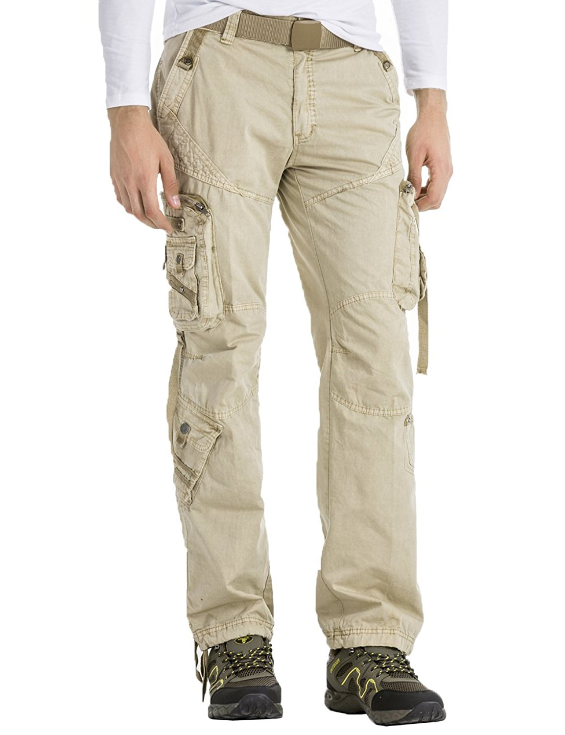 BYWX Men Casual Cotton Military Cargo Multi-Pocket Work Combat Trousers