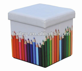 colorful printed pencil folding collapsible storage cube ottoman - Storage Cube Ottoman