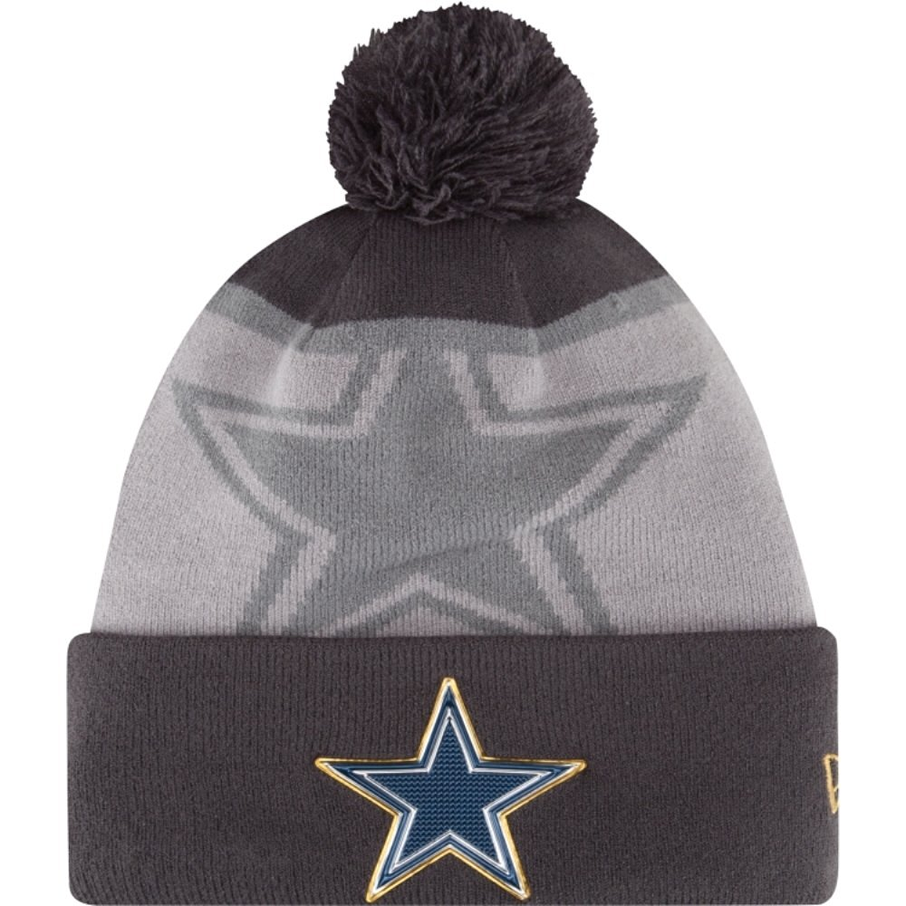 eaf07c8f4593b5 Get Quotations · New Era Dallas Cowboys Gold Collection Grey Knit Beanie  with Pom