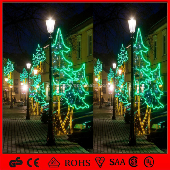 outdoor christmas decoration green christmas tree motif poles for street light - Light Pole Christmas Decorations