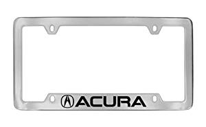 Acura Logo & Wordmark License Plate Frame Holder (4 Hole / Brass, Chrome / Bottom)