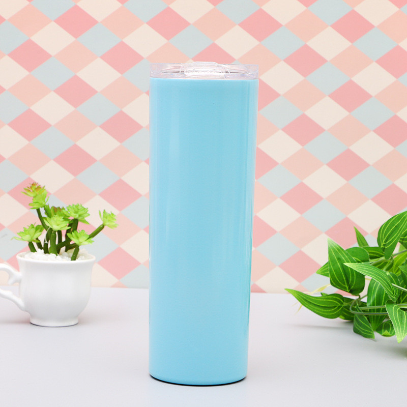 Double Wall Insulated Vacuum Travel Mug 20 OZ Stainless Steel  Car Straight Skinny Tumbler with Straw