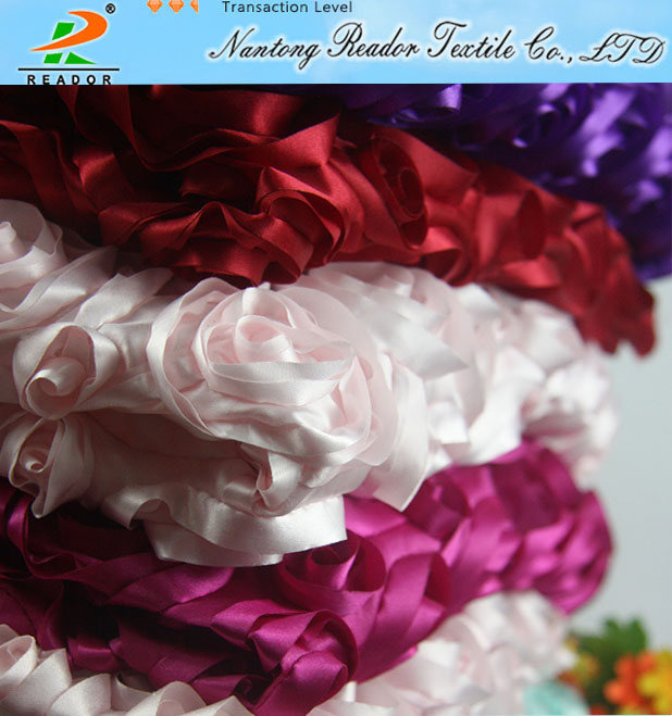 Home textile 100% polyester rosette design satin for tablecloth