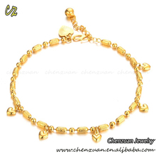 Dubai gold jewelry supplier fashion 18K gold design anklets for women