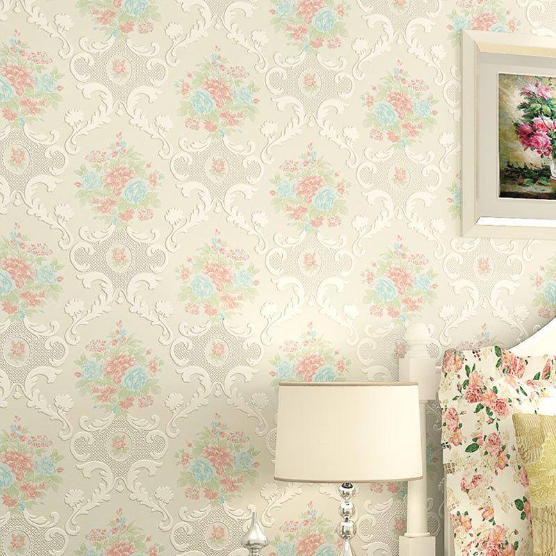 Gezellige europese- stijl tuin bloem vliesbehang 3d ...