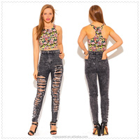 new design dark gray ripped denim distressed fitted skinny jean pants