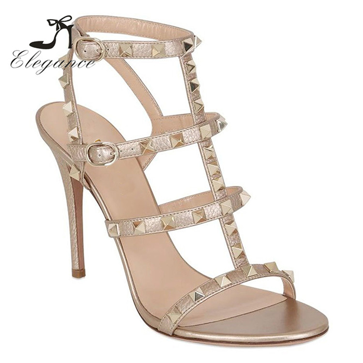 Low MOQ Summer Plus Size Sexy Style PU Upper Studs Fetish High Heels Shoes Rivets <strong>Sandals</strong>